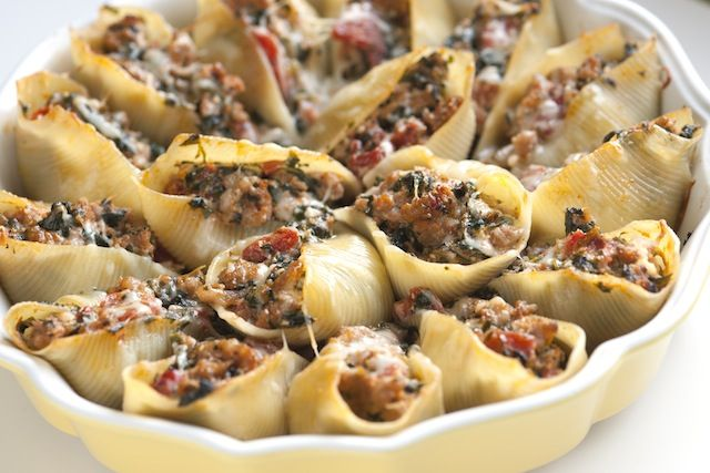 Baked Shells with Sausage and Spinach by inspiredtaste: Oh yum!