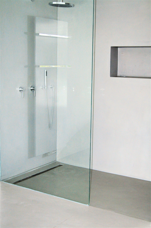 Bathroom Beton Cement Bad Ohne Fliesen Gespachtelt Fugenlos In