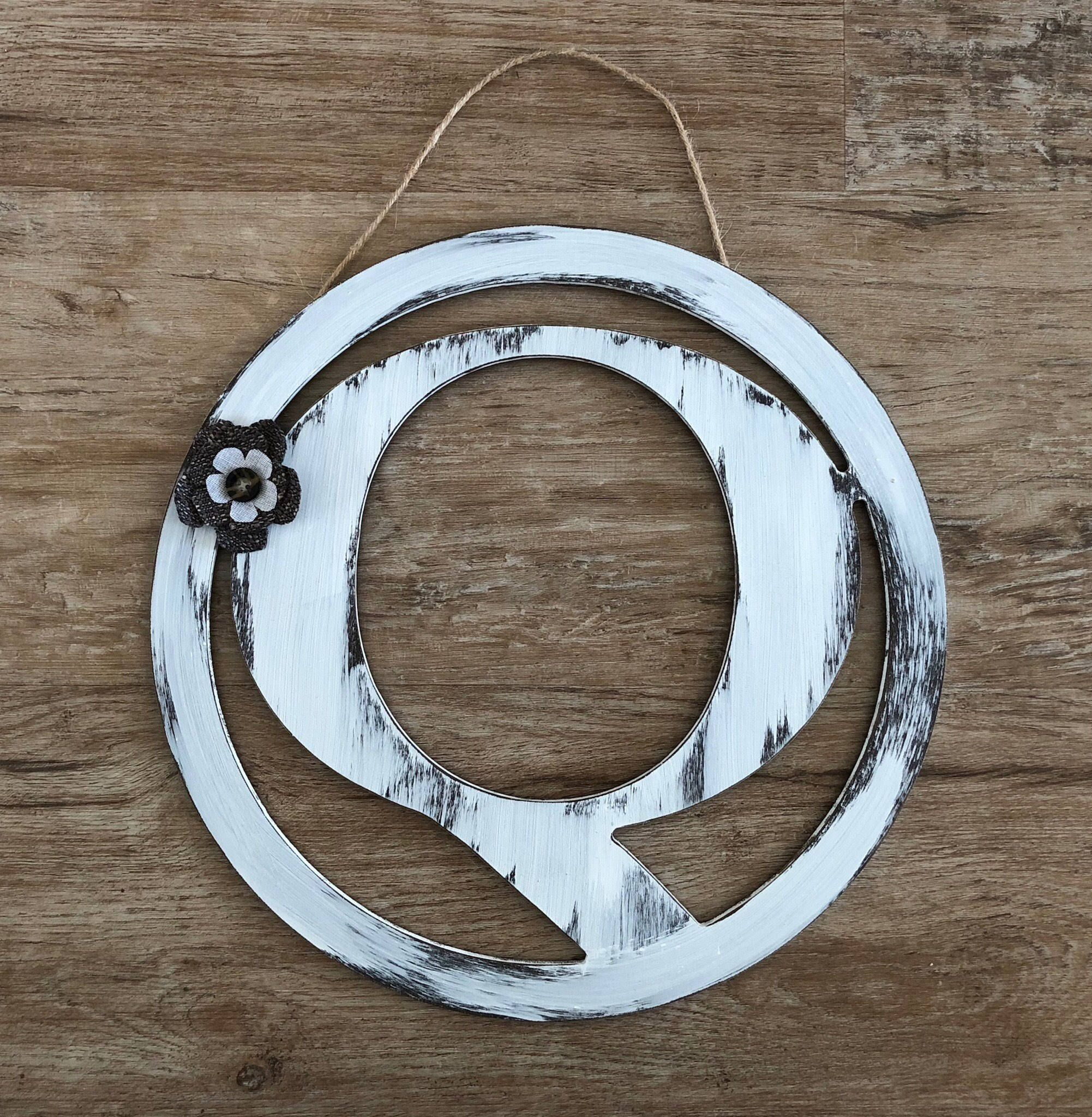 Rustic Distressed Initial Circle Letters, Antique White