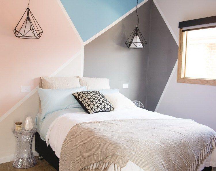 une chambre avec des formes g om triques peintes au mur chambre pinterest formes. Black Bedroom Furniture Sets. Home Design Ideas