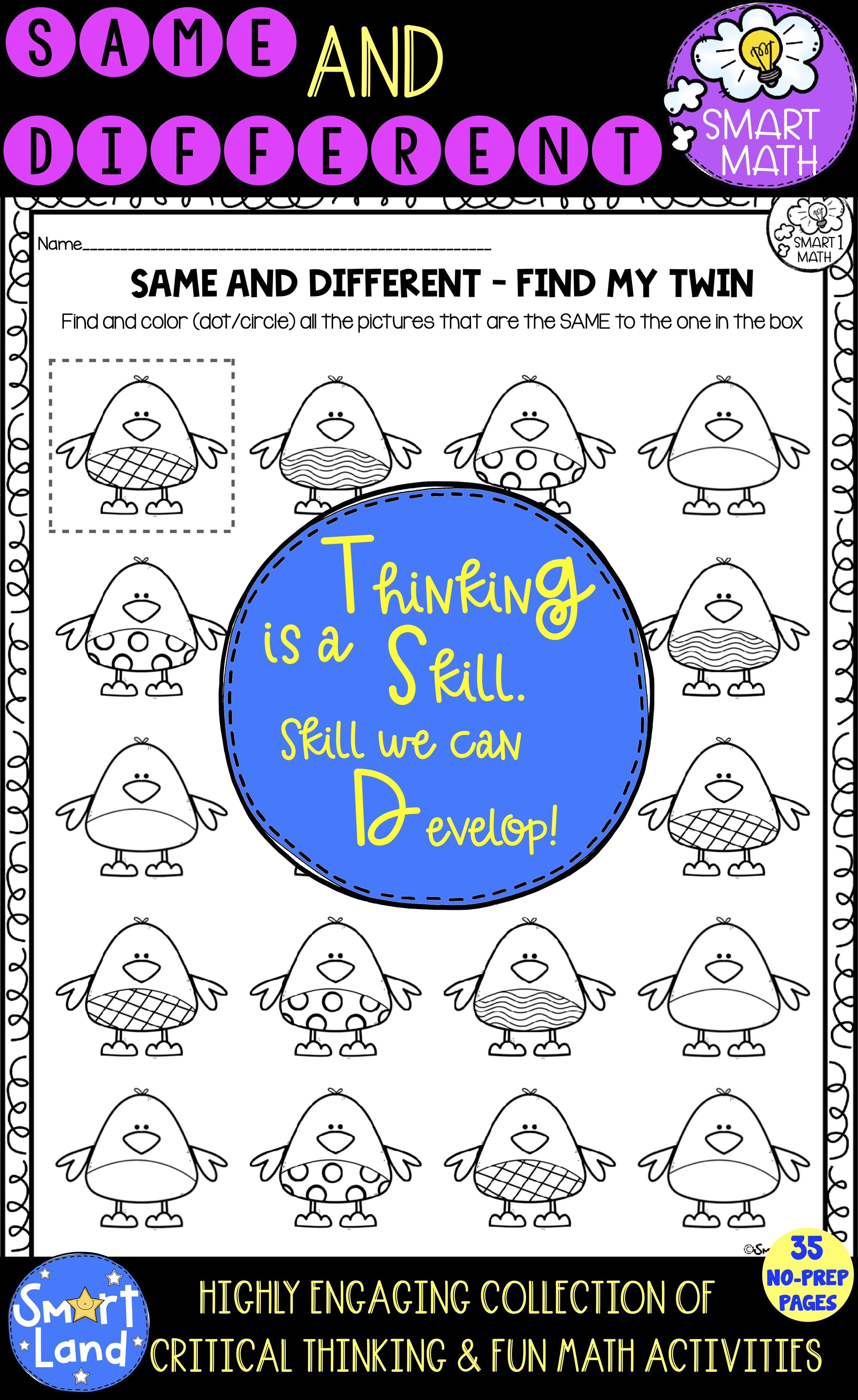 Same And Different Worksheets Critical Thinking Early Math