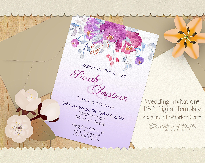 Wedding Invitation Template - Digital Download, Digital Template ...