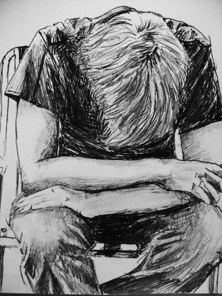 A sad boy in rain pencil art