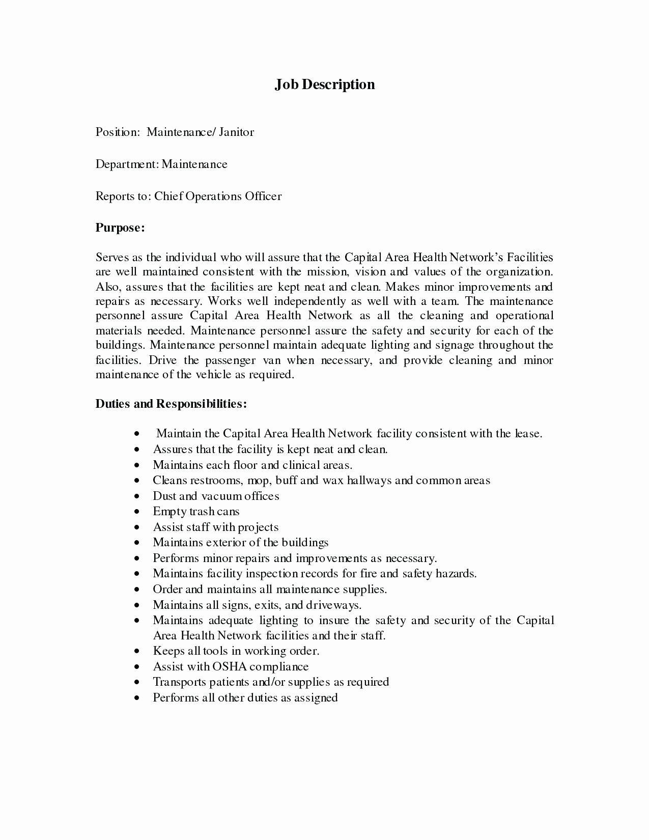 23 janitor job description resume job description