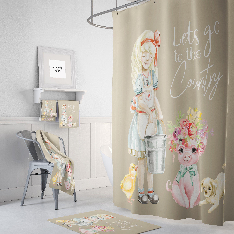 Farmhouse chic shower curtain bath mat bath towels lets