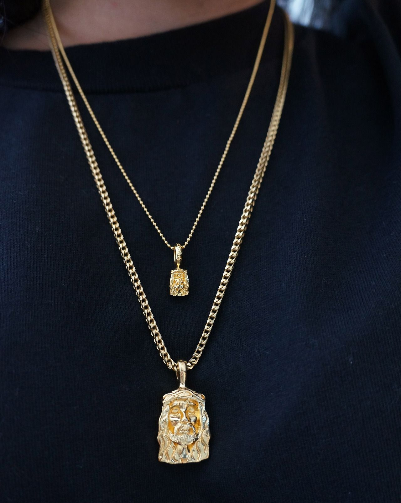 7c81c1e67eb Jesus Piece Gold Everything, Golden Necklace, Black Gold Jewelry, Mens Chain  Necklace,