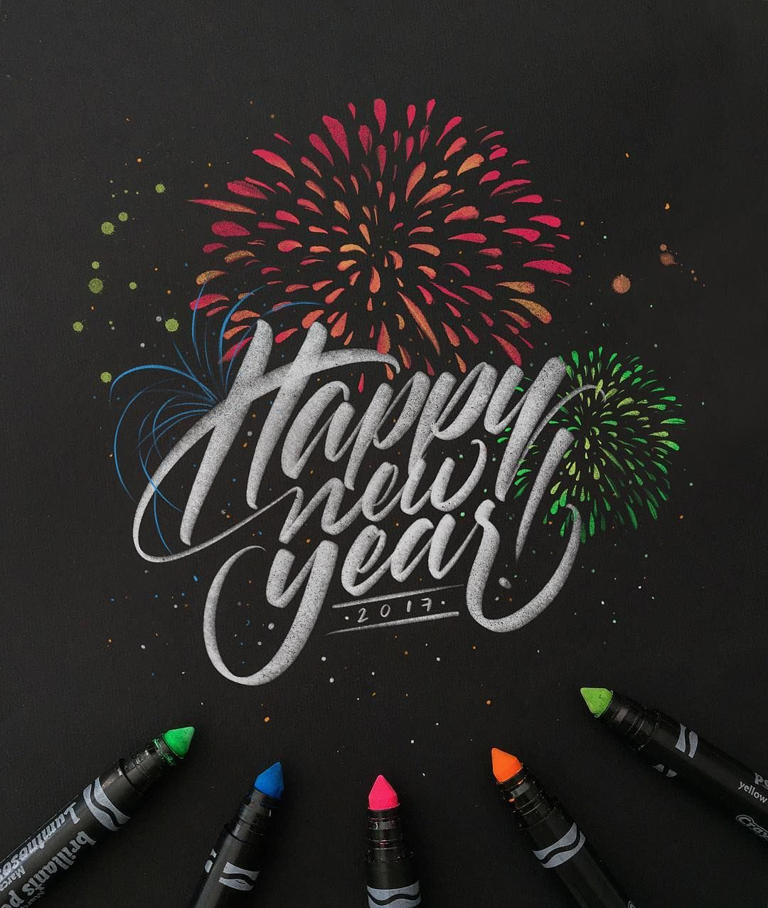 Happy New Year Everyone Peace Love Letters Design