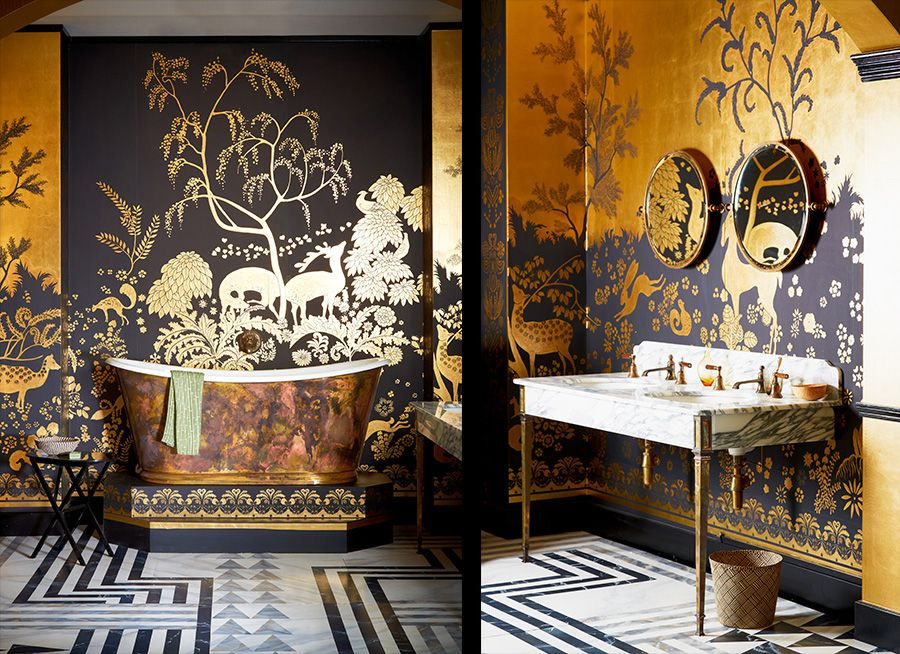 d coration int rieure salle de bain bathroom papier peint chinoiserie noir gold or dor. Black Bedroom Furniture Sets. Home Design Ideas