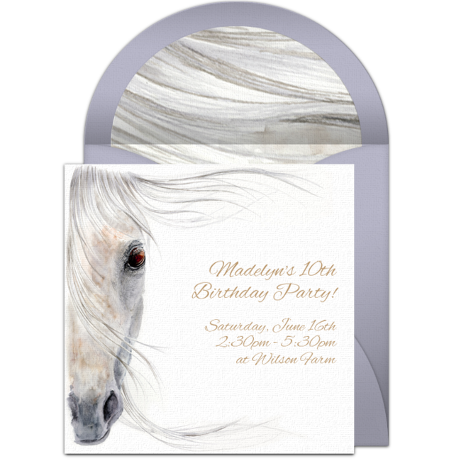a great free party invitation featuring a beautiful horse illustration design we love this for inviting friends to a horse themed birthday party
