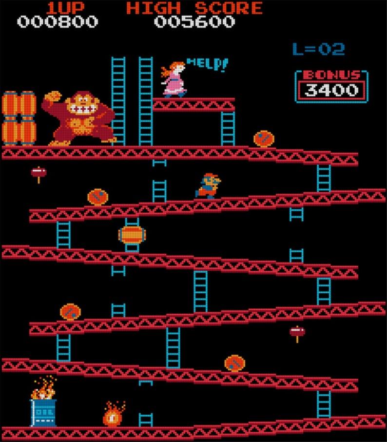 Donkey Kong 1st Level Etsy Donkey Kong Retro Arcade Games Arcade