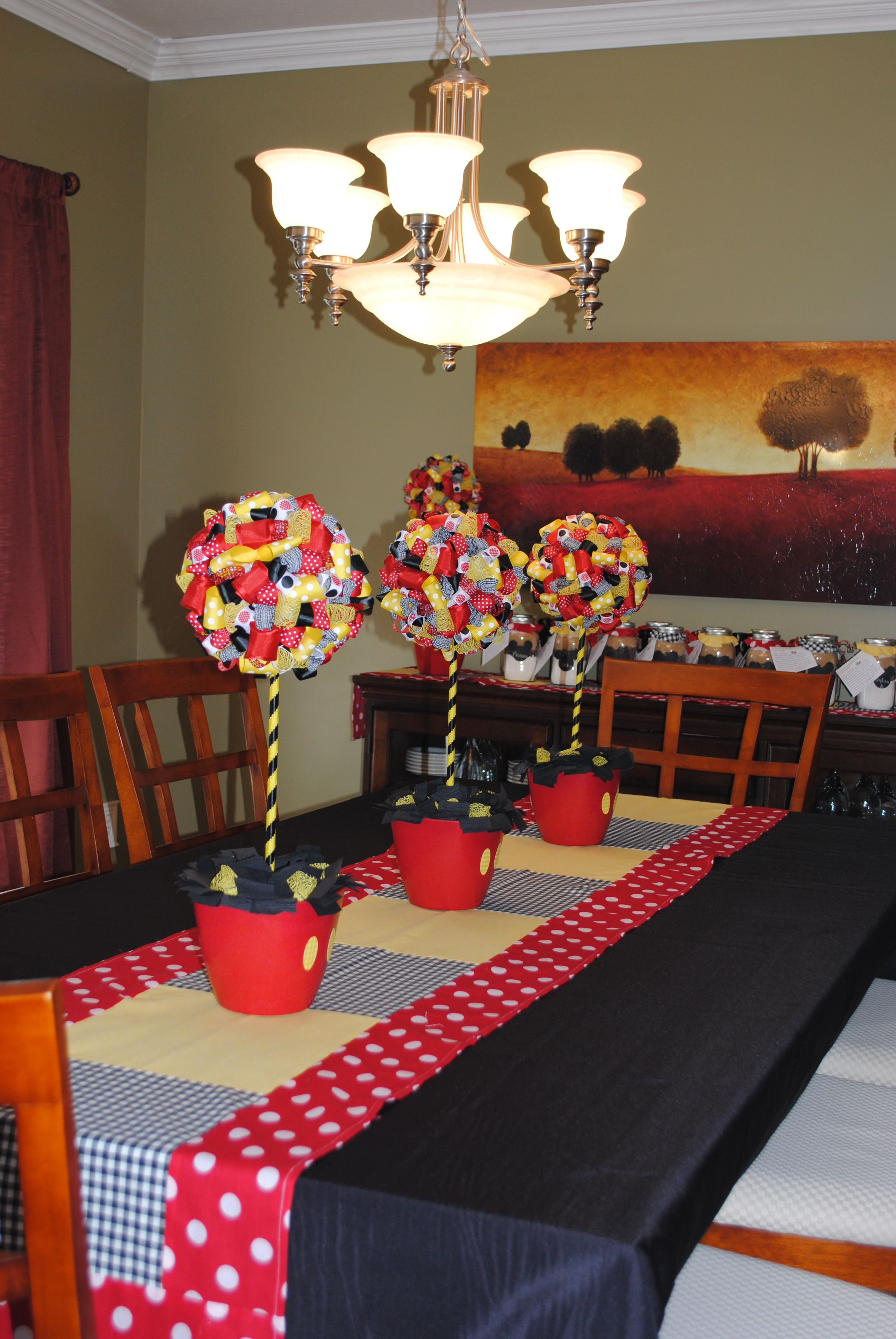 Mickey Mouse Decorations Dining Roommade table runner and
