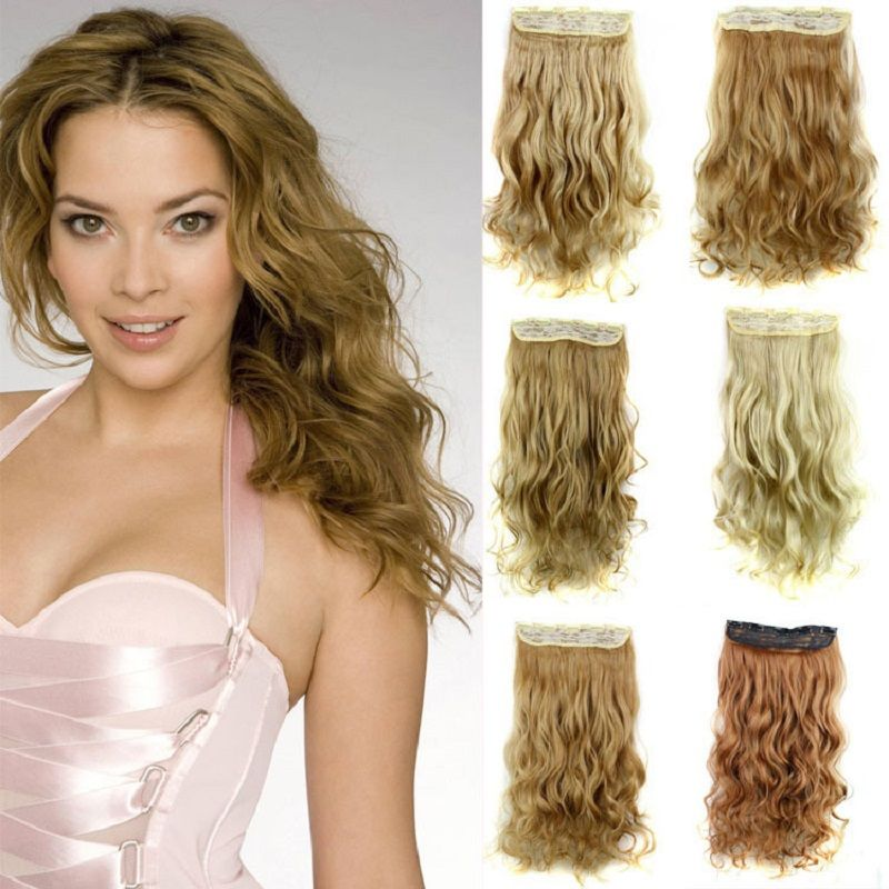 Super Long Hair Extensions 60cm 120g 1piece Only Hair Blond Clip In