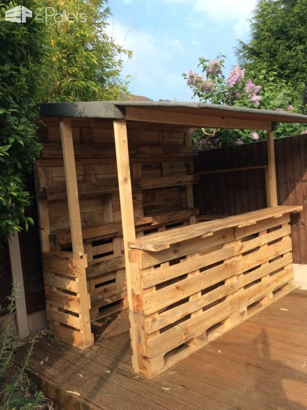 outrageous pallet bar out of 12 reclaimed pallets outdoor projects pinterest palette. Black Bedroom Furniture Sets. Home Design Ideas