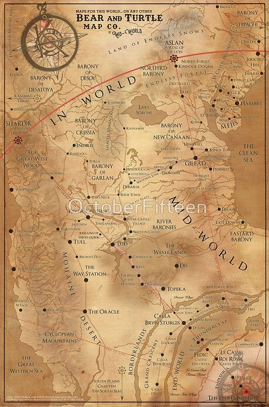 The Dark Tower Mid World Map Poster By Octoberfifteen There Are