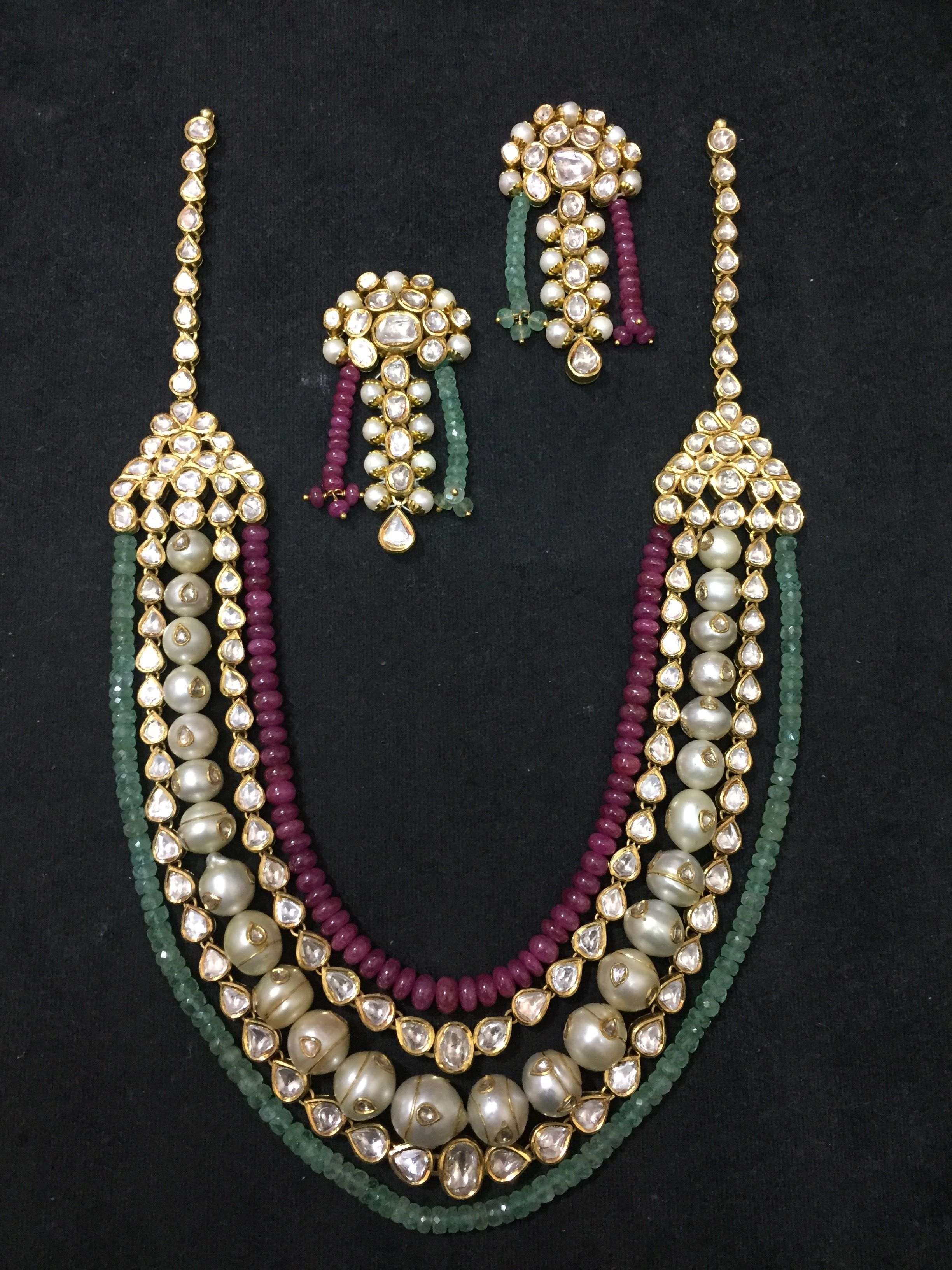 Polki necklace with ruby emerald and pearl