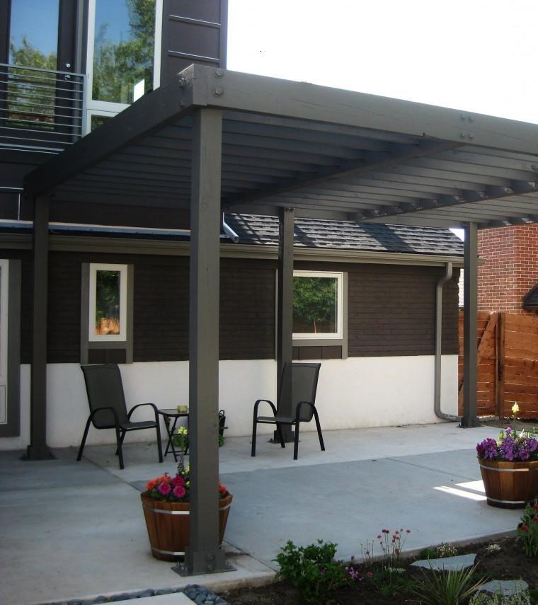Dise o de porche con p rgola moderna terrazas - Tipos de pergolas ...