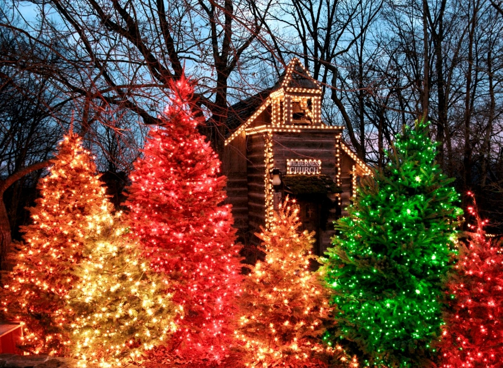 Christmas festival ideas for church - Christmas Trees At The Wilderness Church At Silver Dollar City In Branson Mo
