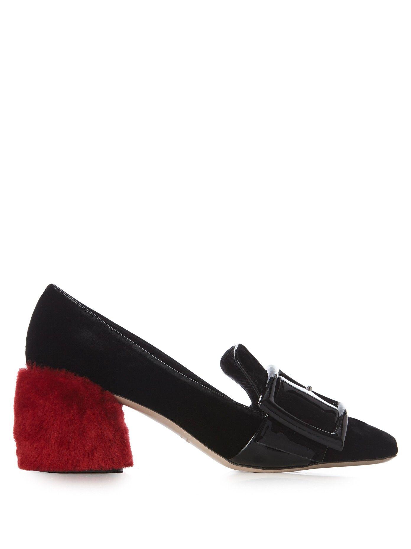 Fur block-heel velvet loafers   Miu Miu   MATCHESFASHION.COM US