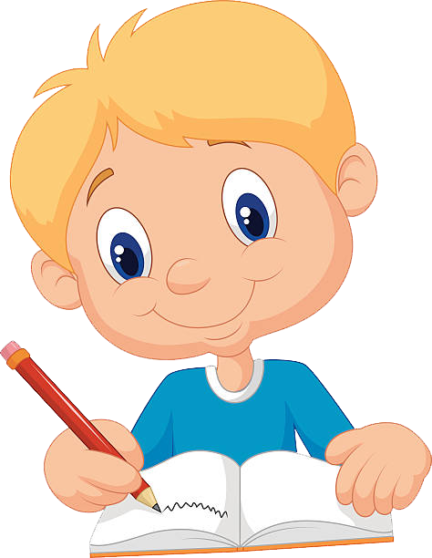 Clip Art of a Friendly Smart School Boy Writing a Long Story at a Desk by  Alex Bannykh - #486