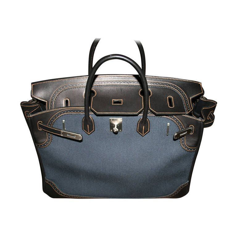 0ddd075df0 Limited Edition 2013 (Q) HERMES Birkin Denim Ghillies 40cm Bag - Never Used!