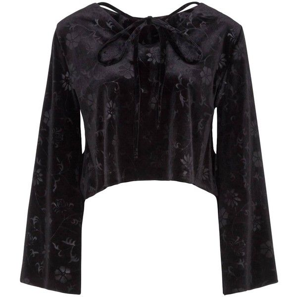 Vjera Vilicnik - Daria Top Black (135 AUD) ❤ liked on Polyvore featuring tops, velvet top and bell sleeve tops