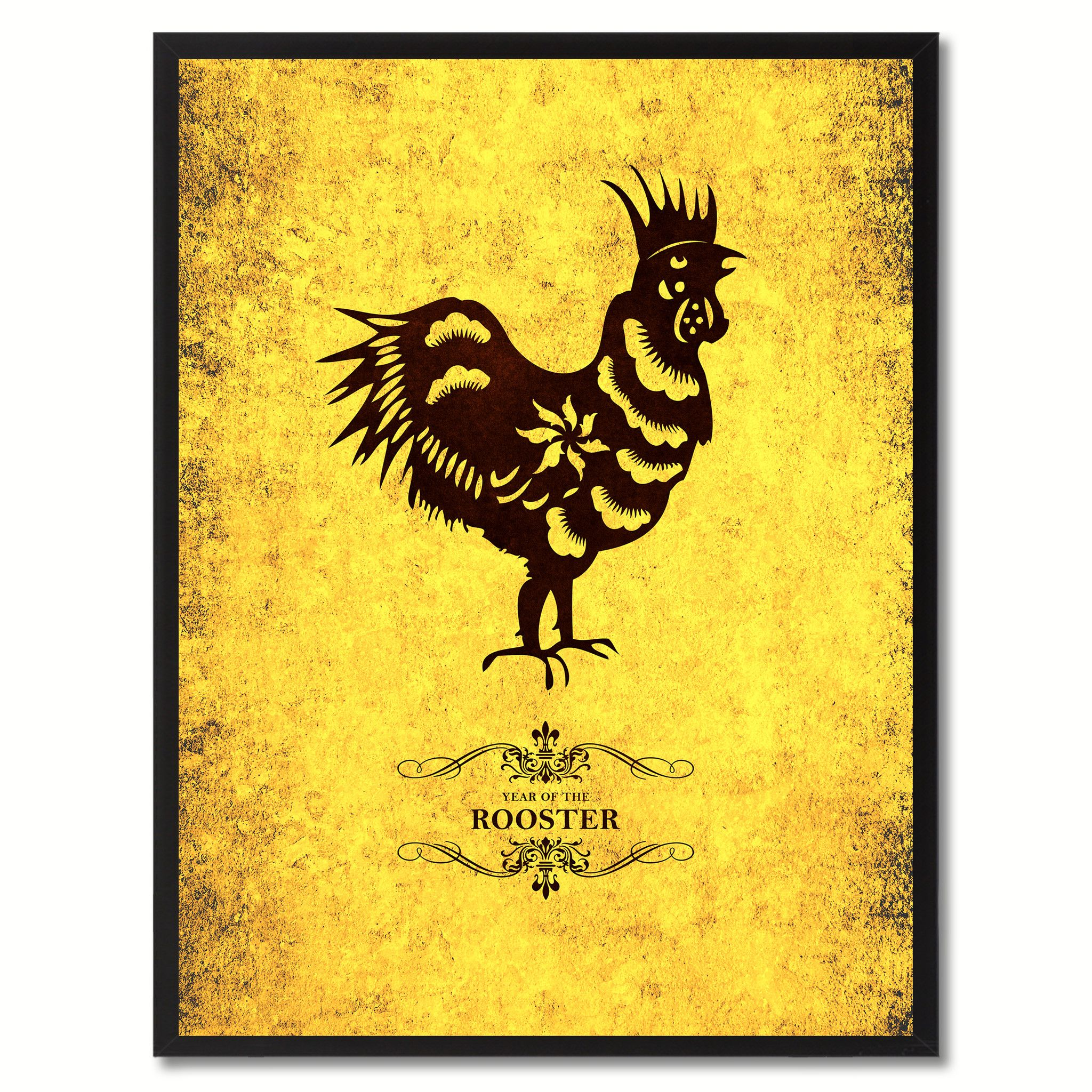 Rooster Chinese Zodiac Canvas Print, Black Picture Frame Home Decor ...