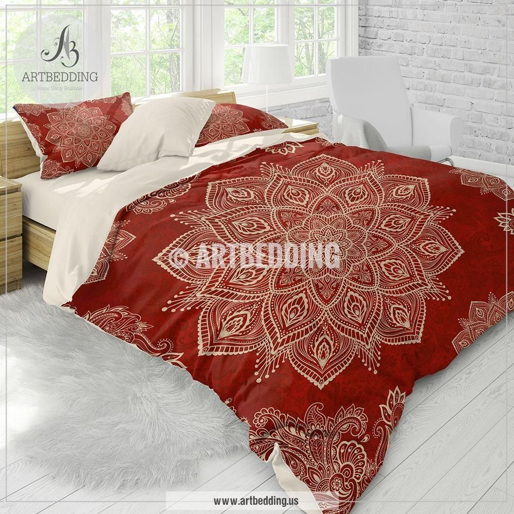 Red Mandala Bedding Red And Cream Beige Mandala Bedding