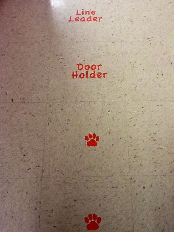 Decals for the classroom floor - Line Leader, Door Holder, Caboose - line leader
