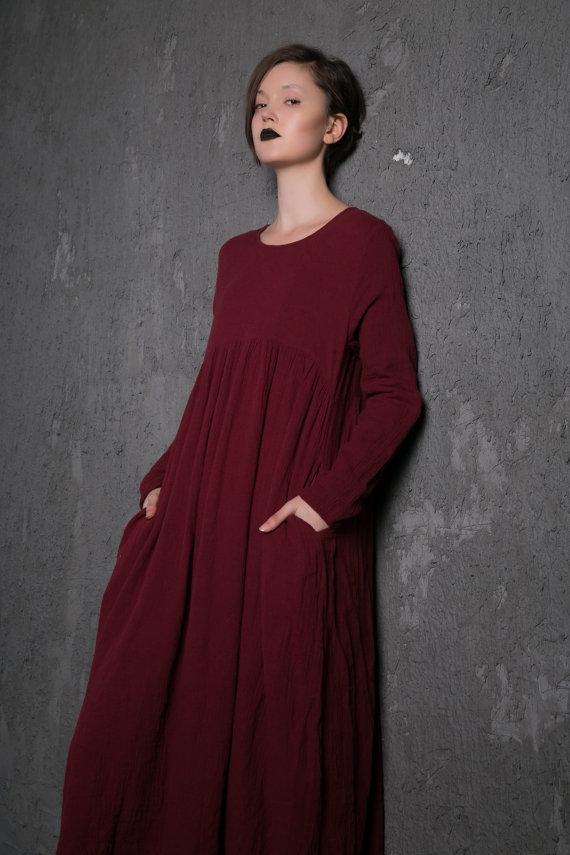 vente discount Chaussures de skate style le plus récent Burgundy dress, linen dress, midi dress, Long sleeve dress ...