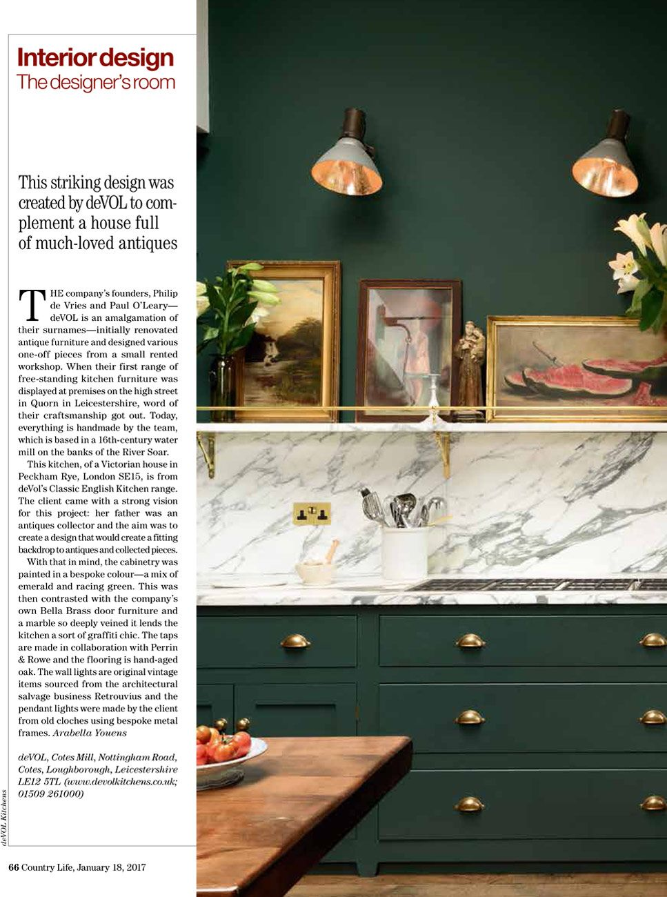The Peckham Rye Classic Kitchen by deVOL was featured in