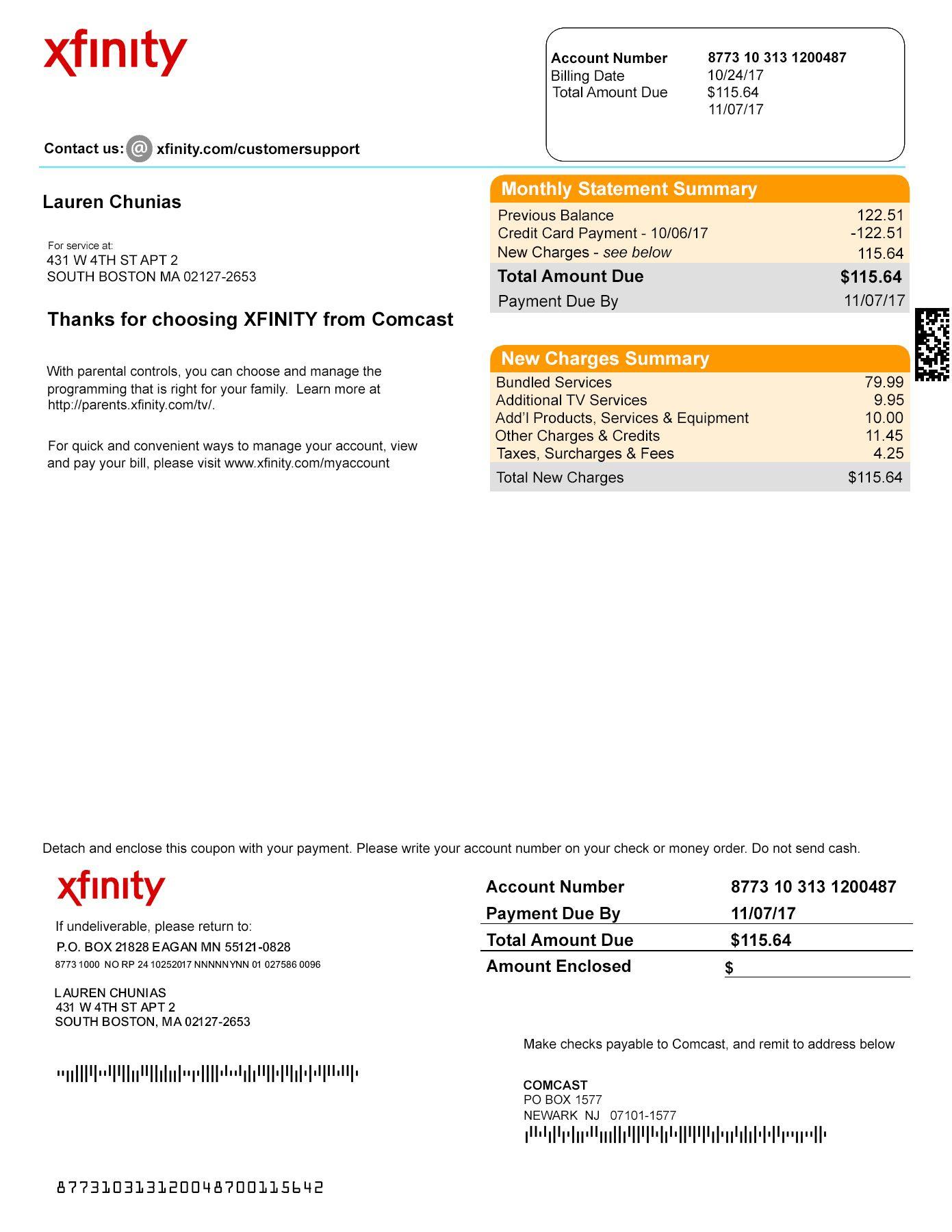 Usa Xfinity Utility Bill Psd Template Bill Template Utility Bill Payroll Template