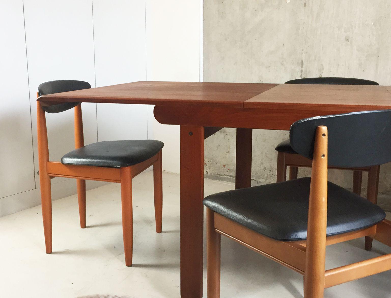 Swell Mid Century Teak Extendable Dining Table And 6 Black Vinyl Cjindustries Chair Design For Home Cjindustriesco