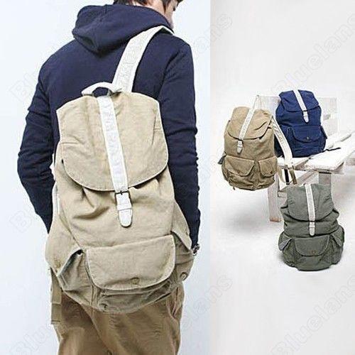 2013 Vintage Travel Satchel, Mens Womens Canvas Travel Backpack Rucksack Shoulder Bag Schoolbag Knapsack Hiking Casual Backpacks $84.05