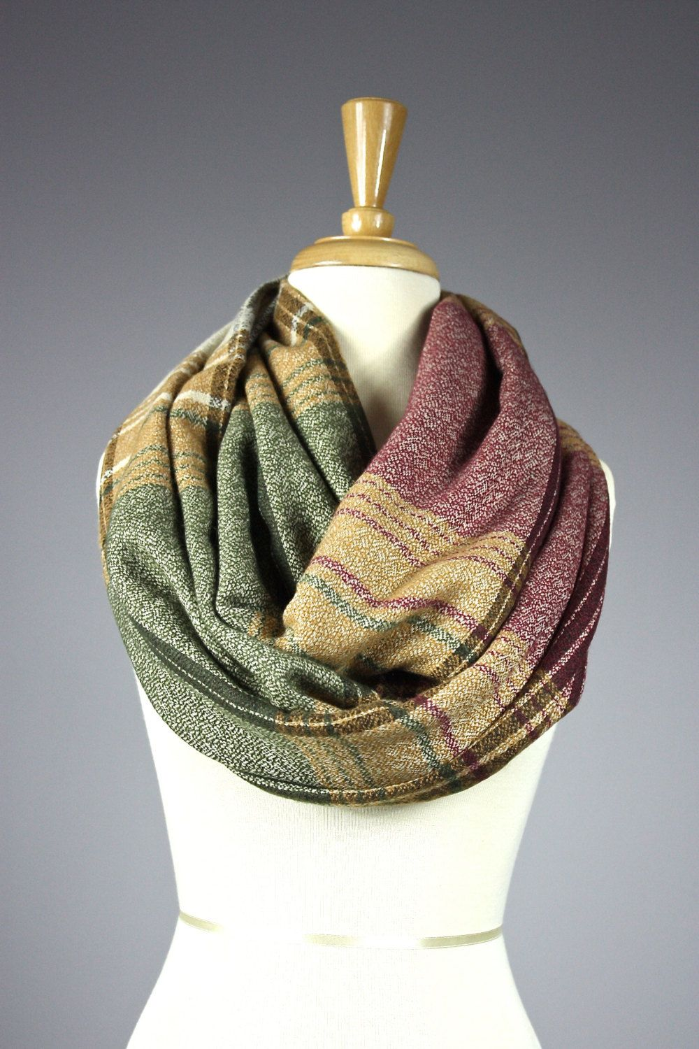 Striped infinity scarf chunky winter scarf plaid scarf unisex scarf wool look scarf colorblock scarf (35.00 USD) by ScarfObsession