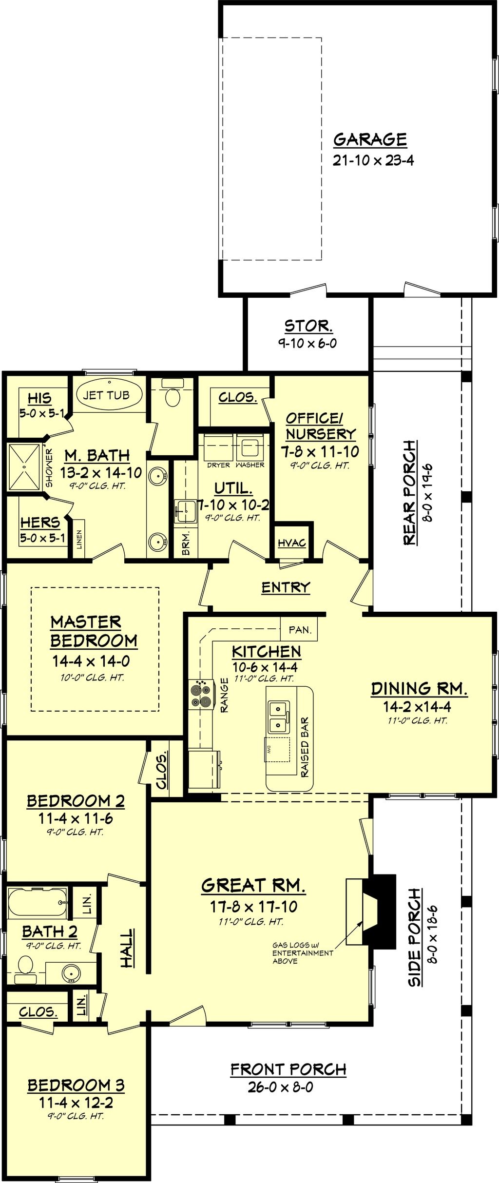 Country floor plan 1900 s f 3 bedroom 2 bath suitable for for House plans 3 car garage narrow lot