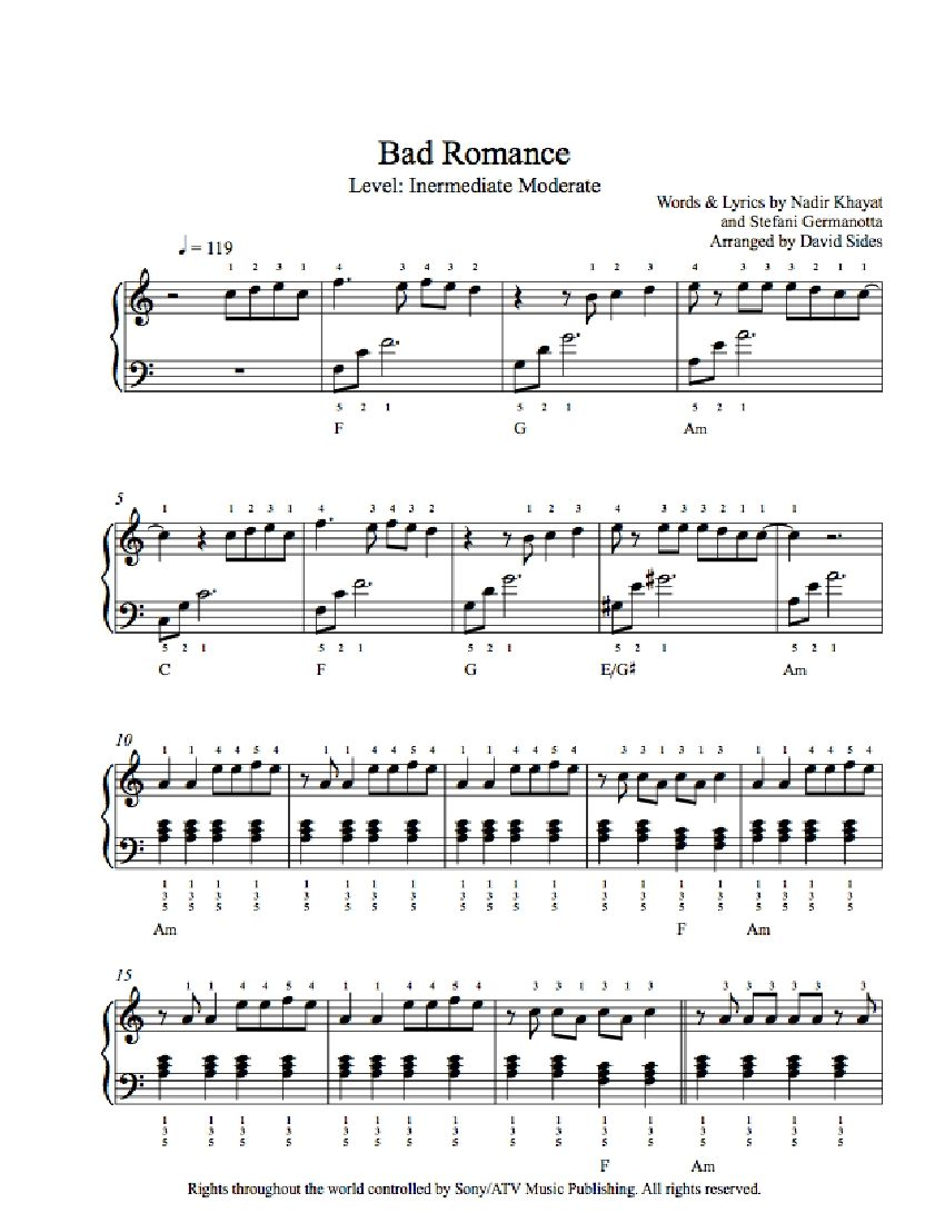Bad Romance by Lady Gaga Piano Sheet Music   Intermediate Level ...