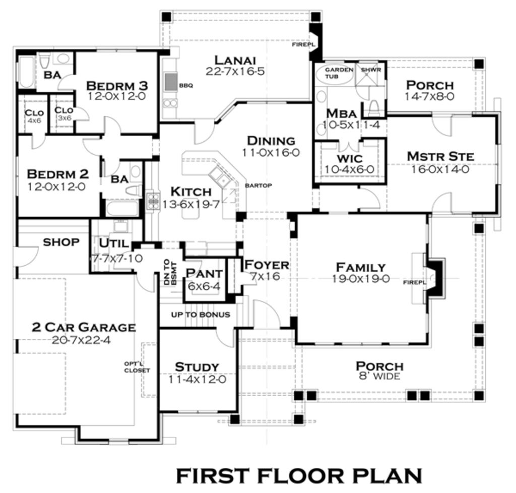 Craftsman Style House Plan - 3 Beds 3 Baths 2267 Sq/Ft Plan #120-181 ...