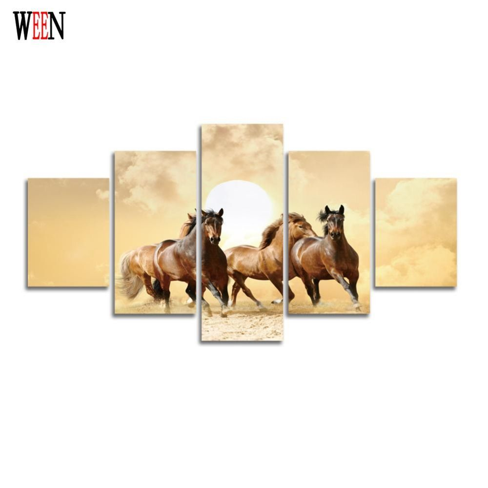 Animal Canvas Painting HD Printed Horse Wall Home Decor For Living ...