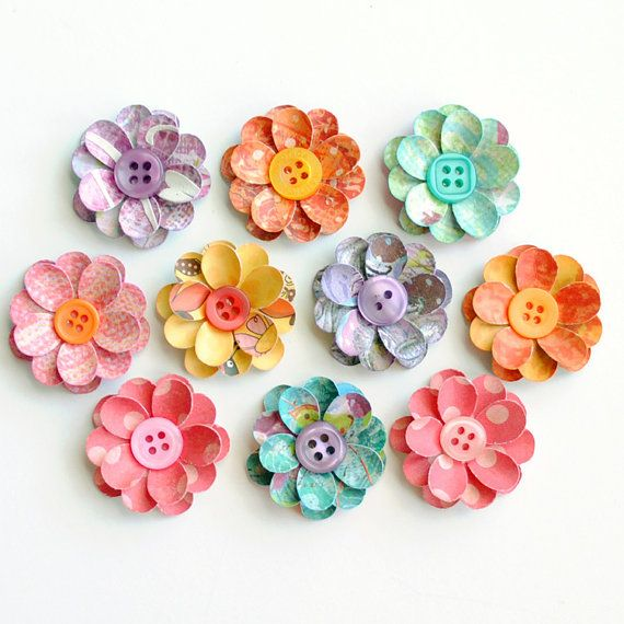 Handmade layered flowers with button centers 9 count flower handmade layered flowers with button centers by photomamaregina mightylinksfo