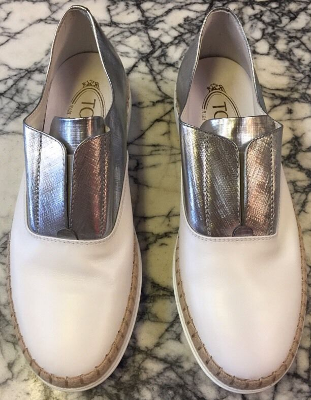 TOD'S White Leather With Metallic Silver Espridrille, Sz 7 FUN #Tods #Espadrilles #Casual
