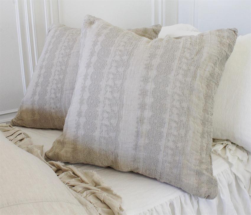 Boho Embroidered Linen Shams | Full Bloom Cottage