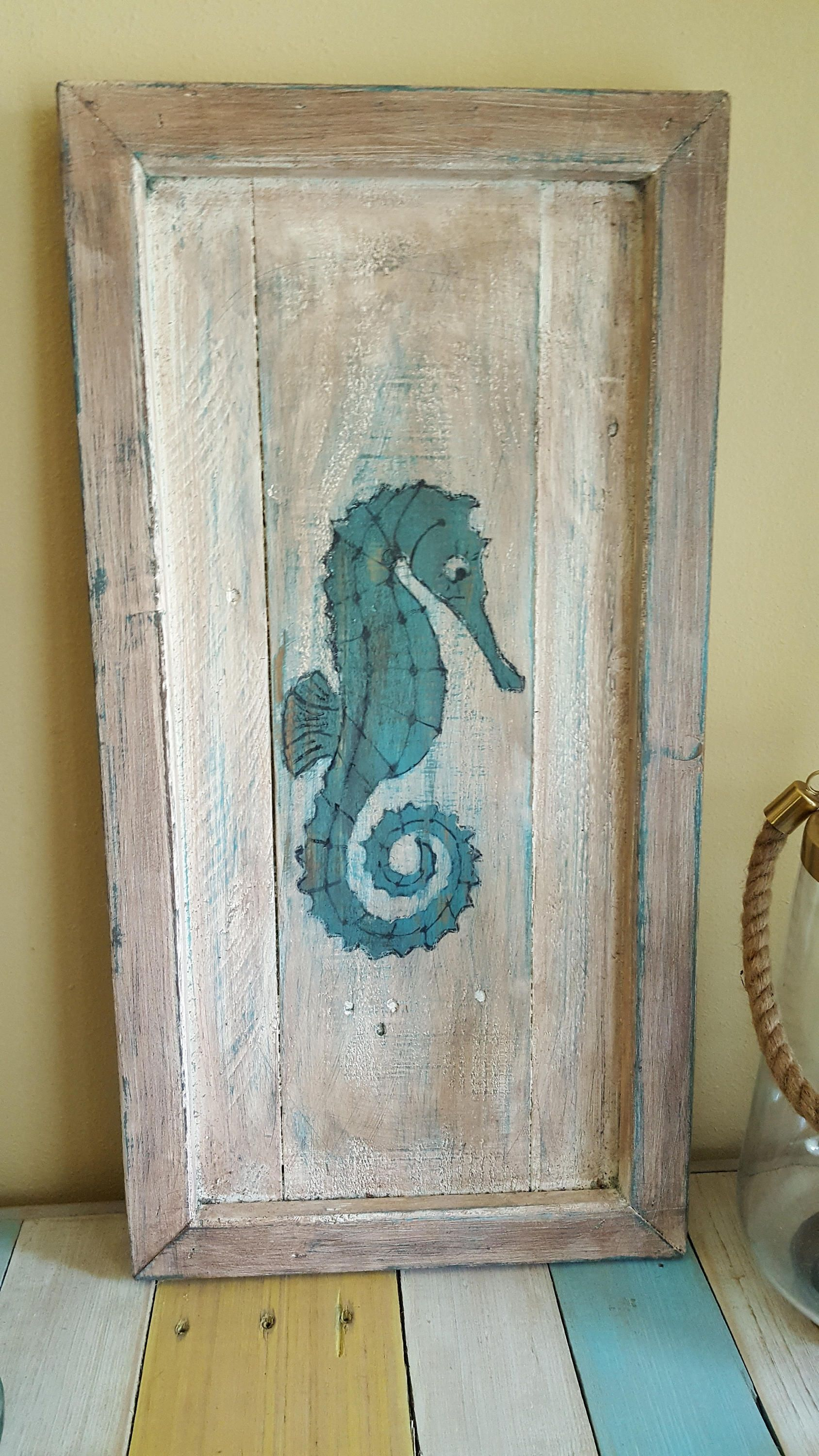 Rustic Coastal Seahorse Pallet Painting By Gkcraftworks On Etsy
