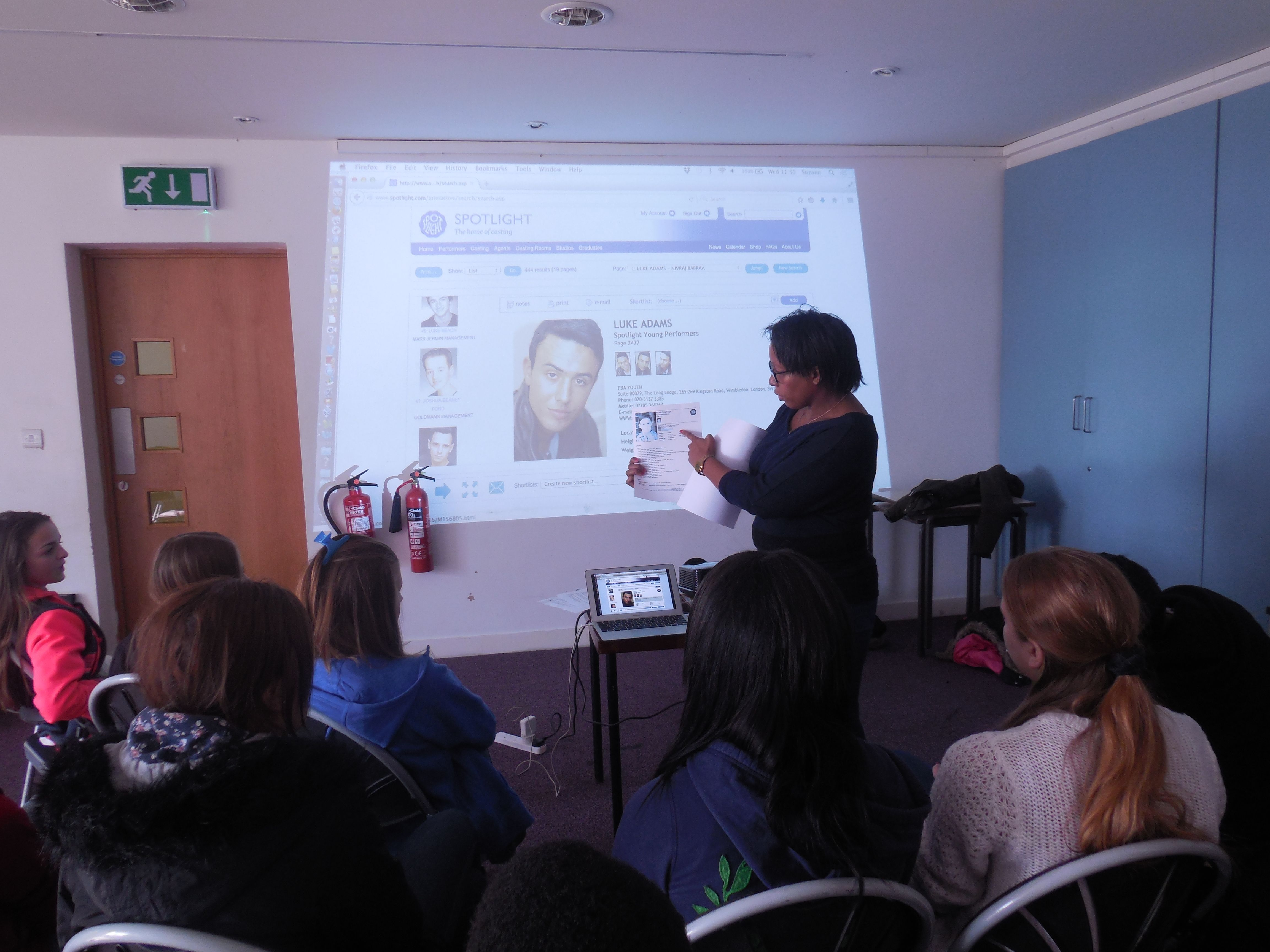 PAYP participants are learning about the online Spotlight website the UK's leading casting resource with unrivalled knowledge and contacts at the heart of the industry.