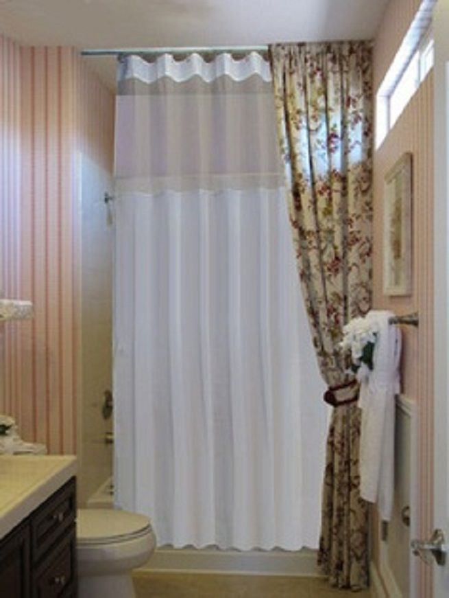 Ceiling Shower Rod With Extra Long Curtain