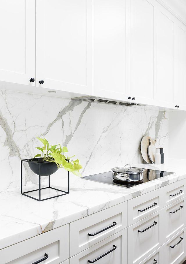 Interiors White Marble Kitchen Kitchen Interior Interior
