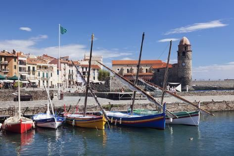 size: 24x16in Photographic Print: Traditional Fishing Boats at the Port, France by Markus Lange :