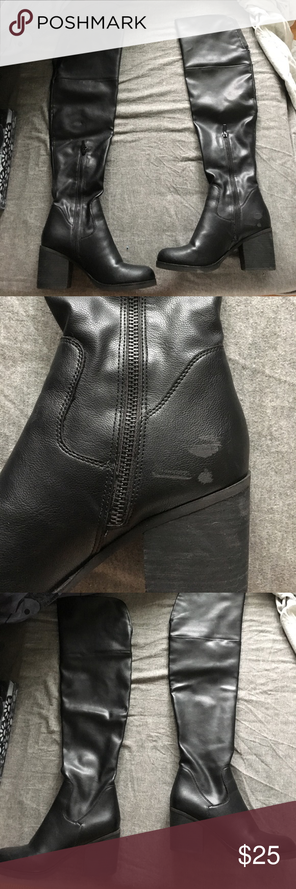 Steve Madden odyssey over the knee boots size 7 I love these boots! But need a larger size, they have minor scuffs which is why the low price but nothing noticeable when wearing as I have had it colored in to match the shade of black by a shoe shop. Make an offer! Steve Madden Shoes
