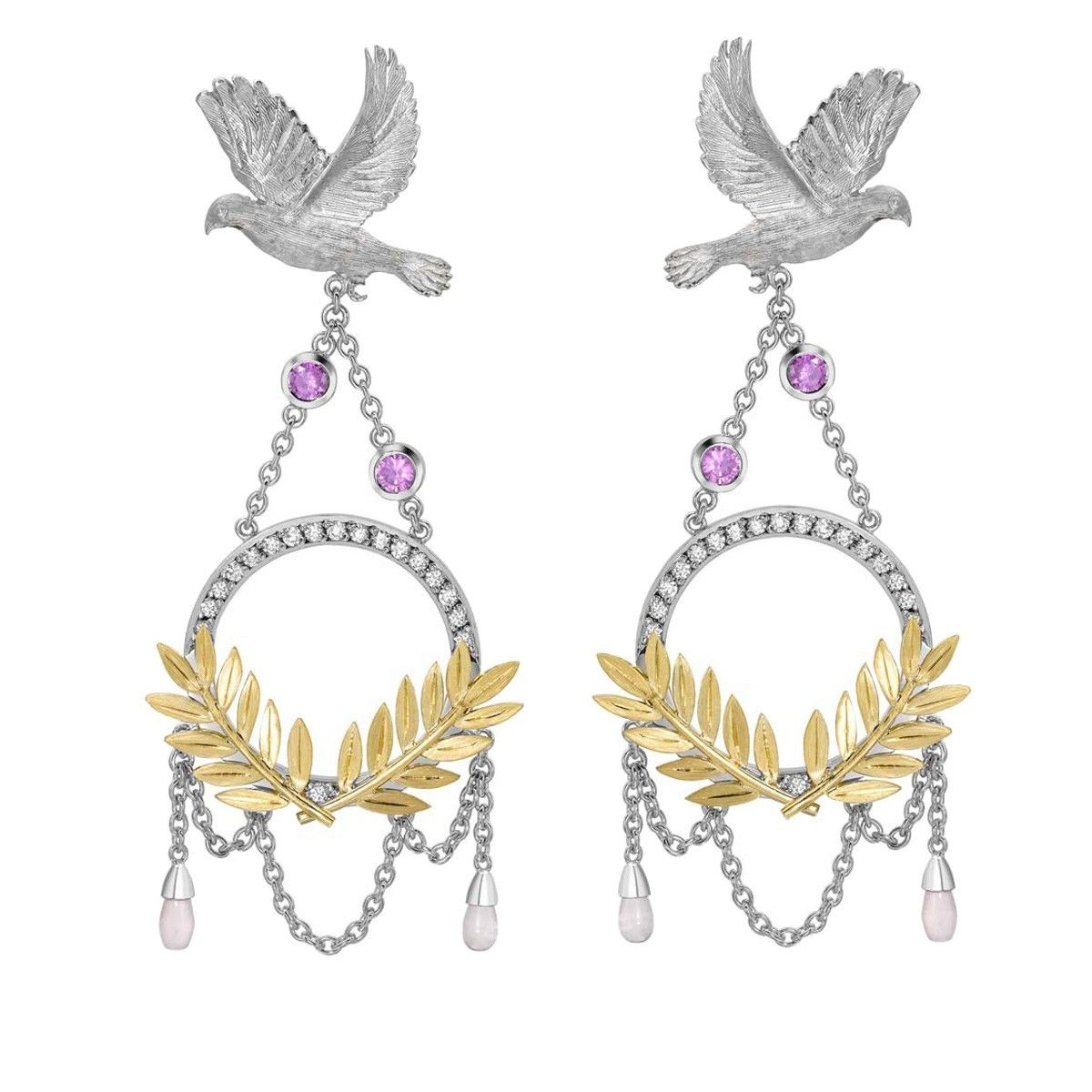 Dove & Olive Branch Drop Earrings