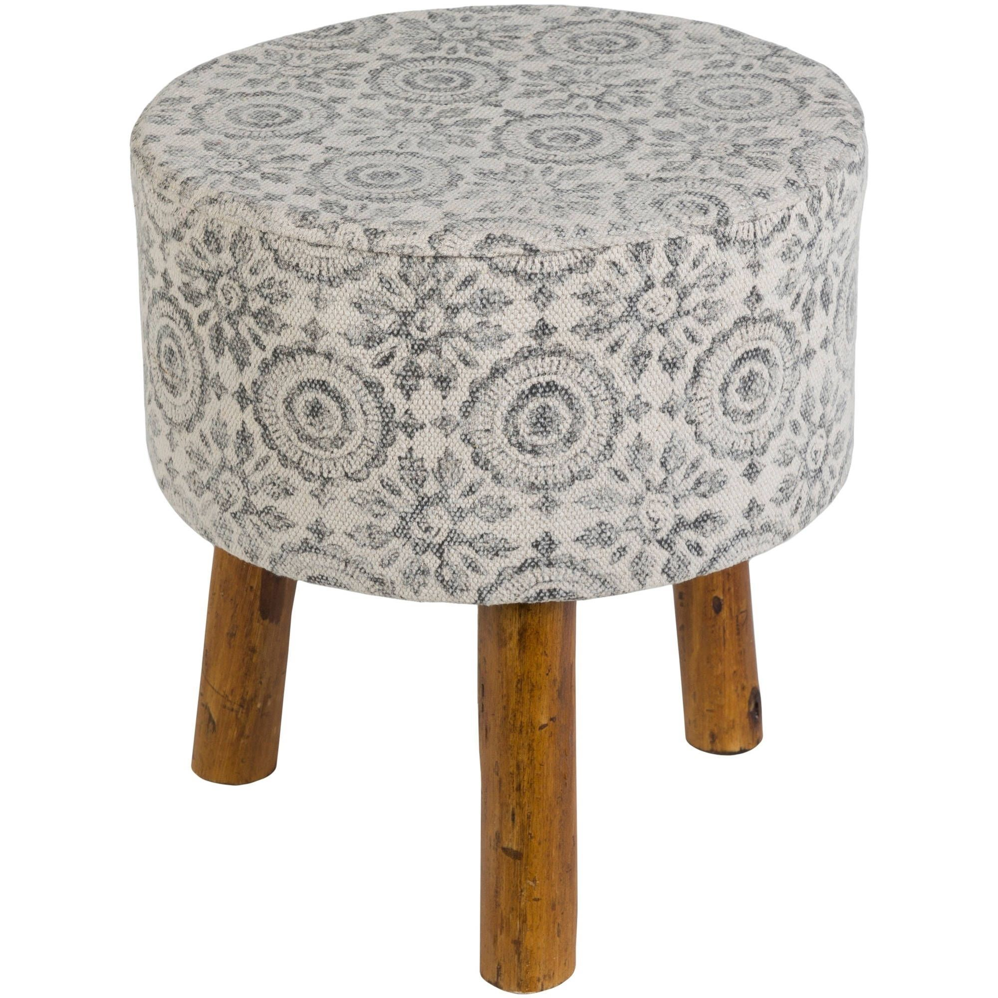 Fine Charcoal Boho Wooden Stool Gray Cotton Products Ocoug Best Dining Table And Chair Ideas Images Ocougorg