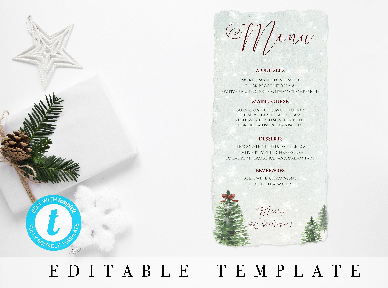Christmas Dinner Menu Template Editable Christmas Menu Printable Christmas Cards Instant Holiday Menu Christmas Personalised Christmas Cards Christmas Menu